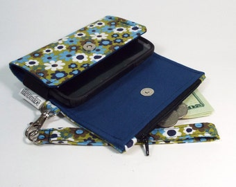 The Kaelyn Cell Phone Wallet - Wristlet - for iPhone/Android - Floral on Green/Navy