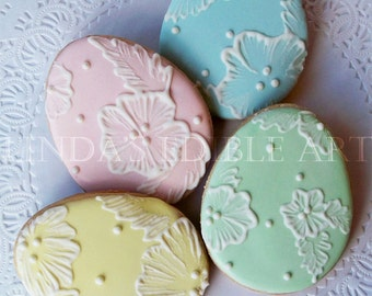Embroidered Easter Egg Cookies   1 Dozen (12)