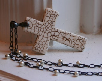 C U S T O M  - Cross Religious Christian Rustic Earthy Woodland Pearl Sterling Silver Chain Accessory Necklace