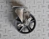 "Antique Industrial 5"" Caster w/brakes, Cast Iron Wheel - Vintage 5TMB"