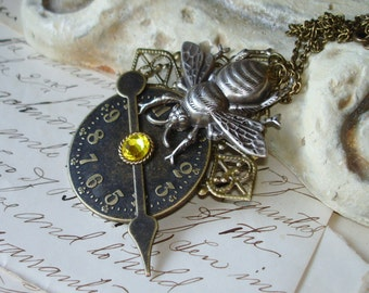 One Golden Drop - Bee Steampunk Necklace   C 10-6