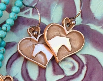 Horse lover Earrings in Bronze and Sterling Silver