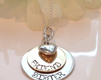 Hand Stamped Custom Sister Friend Necklace-Sisters Necklace-