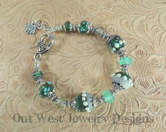 SRAJD Hand Torched Chunky Lampwork Bead Bracelet Muted Greens and Pinks No. 48