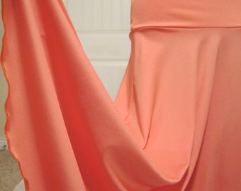 "Ladies' Long Modest Solid PEACH Polyester Spandex Jersey Knit Maxi Skirt for Missionary, Travel or Leisure Wear, S/M. 36"" long"