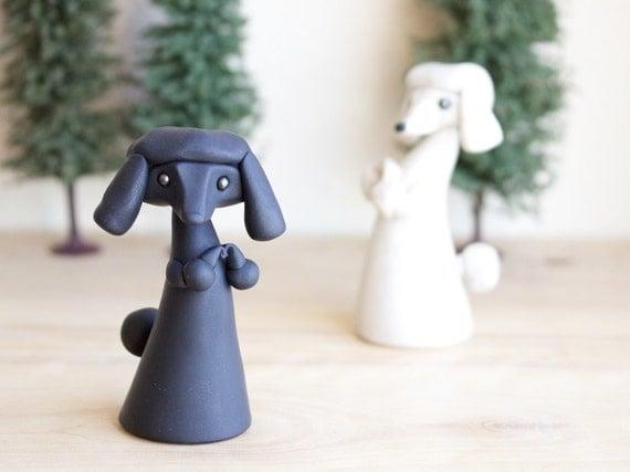 Black Poodle Figurine by Bonjour Poupette