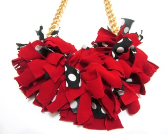 Red Riding Hood Fabric Textile Knots Statement Necklace