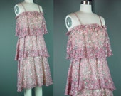 70s Sun Dress Vintage 1970s Floral Tiered Boho Spaghetti Strap Day Floral Print Dusty Pink XS S