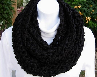 INFINITY SCARF Loop Cowl Solid Black 100%  Extra Soft Bulky Acrylic Handmade Thick Crochet Knit Winter Circle Wrap..Ready to Ship in 2 Days