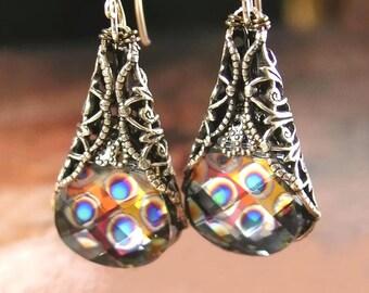 Swarovski Crystal Peacock Earrings Antique Gold Brass Earrings Peacock Eye Dangle Drop Colorful Crystal Earrings Victorian Style Jewelry