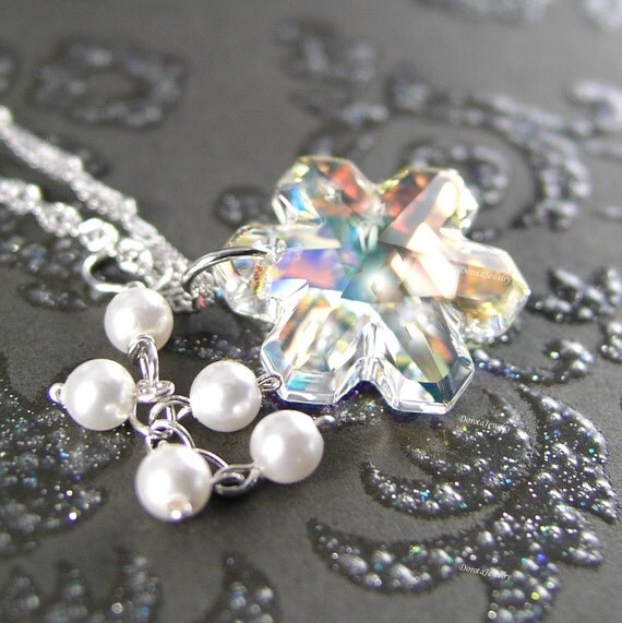 Snowflake Necklace Swarovski Clear Crystal Snowflake Pendant Sterling Silver Snowflake Snow White Pearl Necklace