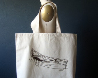 Screen Printed Recycled Cotton Tote Bag - Eco Friendly Grocery Tote - Canvas Tote Bag - Large Tote - Canoe Book Bag - Handmade Project Bag