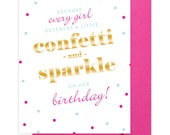 SALE!!! Confetti and Sparkle - Birthday Card - Gold Foil Greeting Card by Abigail Christine Design