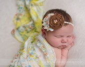 Ruffle Stretch Fabric Wrap Yellow Floral Newborn Photography Prop Posing Swaddle