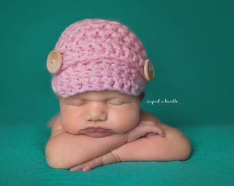 Pink Newsgirl Hat Newborn Baby Photography Prop Optional Diaper Cover Added
