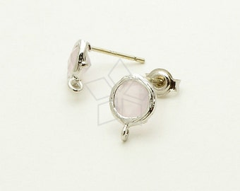 SI-560-OR / 2 Pcs - Tiny Bezel Round Cut Stud Earrings (Rose Opal), Silver Plated, with .925 Sterling Silver Post / 7.6mm