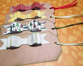 Handmade GIFT TAGS or PLACECARDS - Set of 16 Large Kraft Tags with Handmade Double Loop Paper Bows