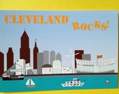 Cleveland Mini print or postcard from Lake Erie, Rock and Roll Hall of Fame, Browns Football Stadium