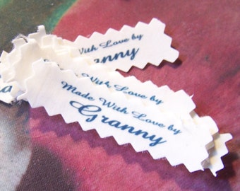 Granny Clothing Labels Made with Love by Sew in Garment Tags Qty 15 Sew In Personalized Designer Premade Ready to Ship!