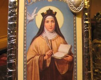 Saint Teresa of Avila Stained Glass Holy Prayer Card Keepsake Loss of Parents Headaches Prayer Card Catholic Home Decor