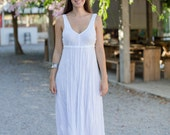 Long White Linen Dress / Maxi / Empire Line / Summer Dress / Pure Linen / Crinkled Linen / Boho Beach Dress / Hand Made / Wedding