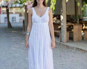 Long White Linen Dress / Maxi / Empire Line / Summer Dress / Pure Linen / Beach Wedding  Dress / Hand Made / Linen Wedding Dress