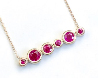 "Ruby Necklace, Ruby Jewelry, Gold Ruby Necklace, July Birthstone, 14k Gold Ruby Necklace, 20"" Ruby Necklace, Asymmetrical, Layer, Nixin"