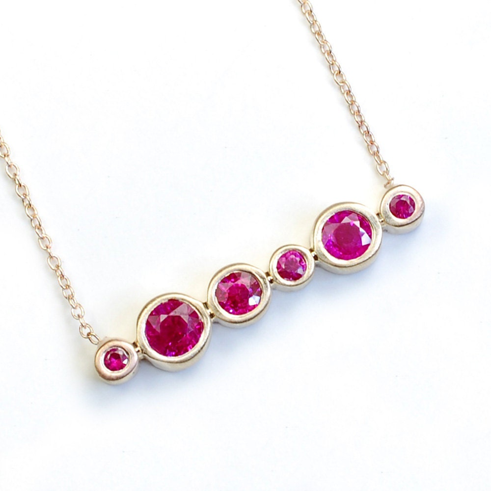 Ruby Necklace Ruby Jewelry Gold Ruby Necklace July