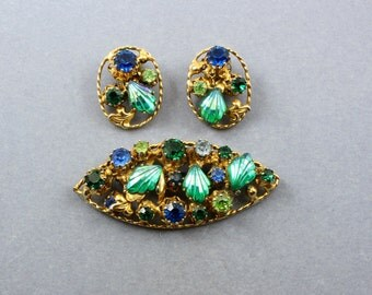 Vintage 1950s AUSTRIA Art Glass Rhinestone Demi Parure Brooch Earrings