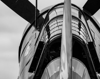 Airplane Art, Curtis Helldiver, Black and White Fine Art Photography, Aluminum Print, Ready to Hang Art