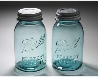 Vintage Ball Mason Jars - circa 1930's Set of Two