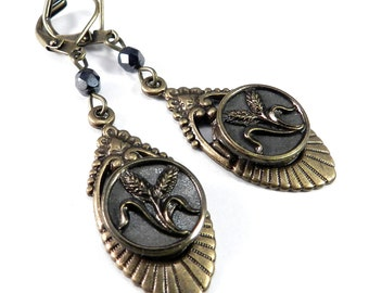 Victorian Earrings, Antique Button Earrings - Victorian Button Jewelry - Steel and Brass - Art Deco - Victorian Edwardian Jewelry