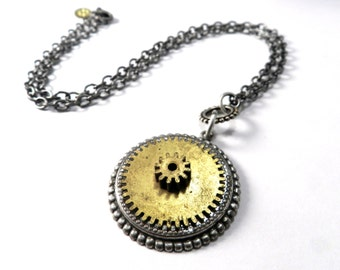 Steampunk Necklace Brass Gear Industrial Necklace by Compass Rose Design