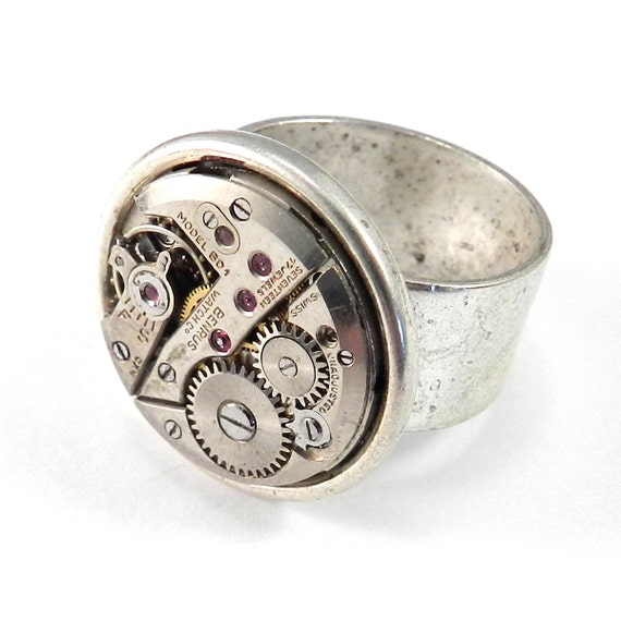 steunk jewelry vintage mechanical movement ring