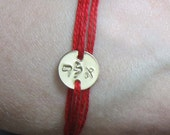 kabbalah bracelet Kabbalah Hebrew Letters kabbalah red string Letter Combination Protection Thread Personalized Hand Stamped Gold Disc BFF