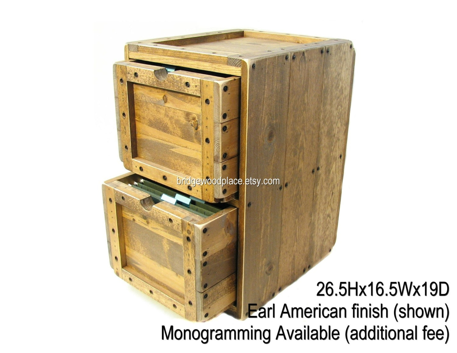 filing cabinet rustic solid wood office file by