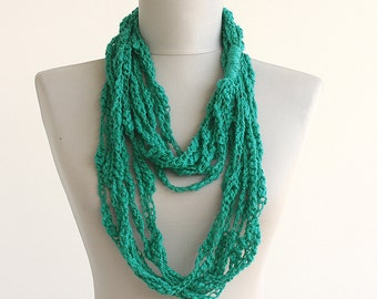 Green scarf necklace crochet scarf infinity scarf chain loop scarf cotton scarf fashion accessories gift ideas for her necklaces for women
