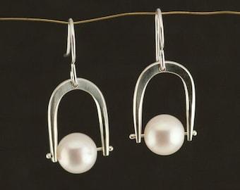 Fresh Water Pearls on Forged Sterling Silver Dangle earrings, Wedding earrings, Silver Pearl Earrings