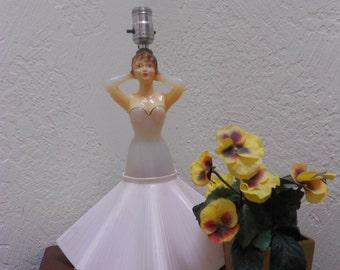 Pink Lady Lamp Chi-Chi Boudoir Atomic Ranch Rockabilly Chic 50s Retro Molden Plastic Fun