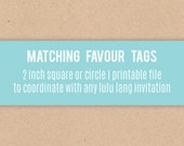 Made to Match Favour Tags - Printable