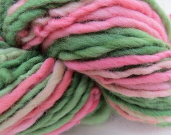 Hand spun Art Yarn Bulky hand dyed handspun Newborn photo prop wool Waldorf accent Hair merino