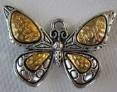1PC - Butterfly Charm - Silver & Gold Toned - 32mm - Supplies by Zardenia