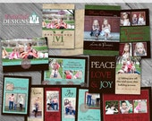 Rustic Christmas Holiday Card Collection - 5 custom Christmas card templates for photographers on whcc specs
