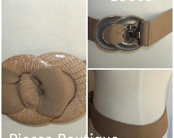 Belt, Elastic, Faux Snake Buckles, 1980s, Modern Look, Size M/L,  #45671
