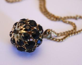 Vintage black crystal rhinestone pendant.