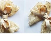 BOL-01/ 1pcs-100mm lace bow-dark cream