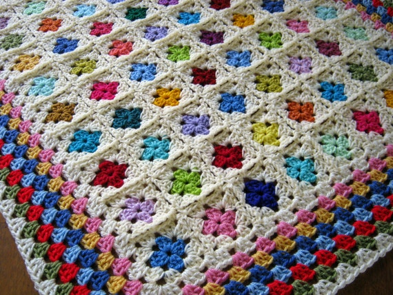 Crochet Baby Afghan Blanket Miniature GRANNY SQUARES In Stock Ready To Ship