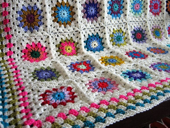 "SALE 20% OFF Crochet Blanket Granny Squares 50"" x 50"" In Stock Ready to Ship"
