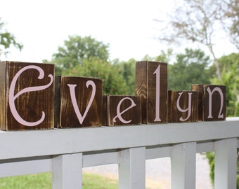 CUSTOM LETTER BLOCKS - Personalized Baby Shower Gift - Nursery Centerpiece - Shabby Chic Name - Brown Pink Girl Sign Decor