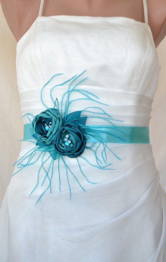 Handcrafted Teal and Turquoise green Two Flowers Wedding Dress Bridal Sash Belt